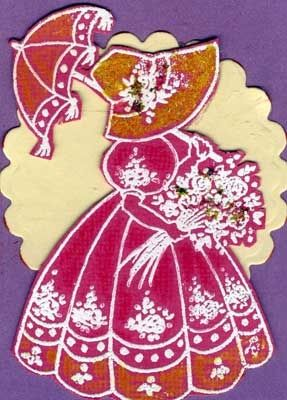 Artist Trading Card Showing Stamped Image of Girl  in her Easter Bonnet