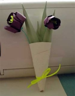 Hand Made Tussie Mussie with Paper Tulips