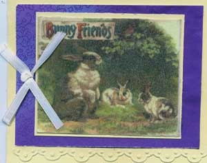 Easter Card with Bunnies and Burnished Velvet Glitter