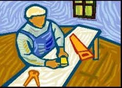 Cartoon picture of man at woodwork bench