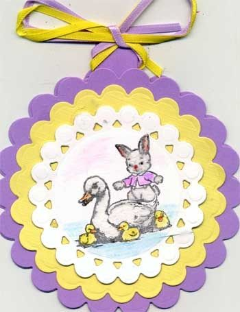 Circular Easter Card with Stamped Duck and Bunny