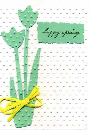 Easter Card with Tulips and Embossed Background