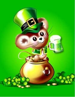 Irish Mouse in Pot of Gold Drinking Green Beer