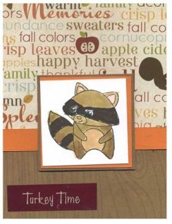 Thanksgiving Card with Stamped Raccoon