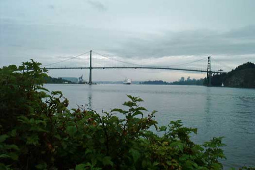Ship Directly Underneath the Lions Gate Bridge