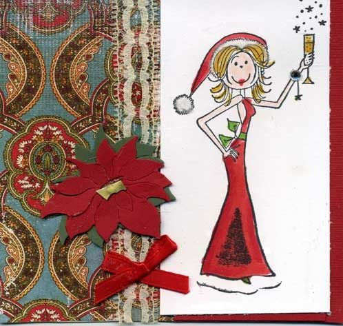Hand Made Christmas Card with Stamped Image of Sexy Lady Dressed in Santa Outfit