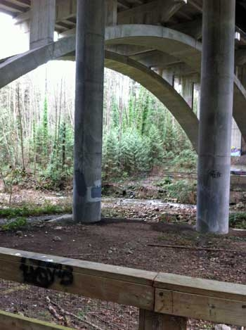 Mosquito Creek Trail Under the Trans Canada Highway Overpass