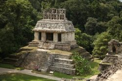 These ruins at Palenque are also known as the tomb of the space man because of the unusual engraving on the top of the sarcophagus.