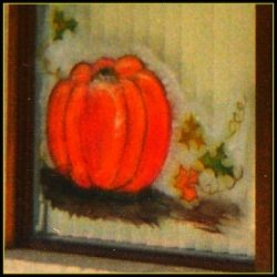 This is a textured pumpkin in a window painting I did for Halloween. It takes a bit of practice to create the colors and get them to stand alone. If you do not apply the paint in an ordered manner you will end up with a messy soup, so be cautious.