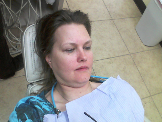 Ria B in the dentist's chair