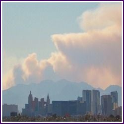 Wildfire on Mt. Charleston as viewed from the Las Vegas Strip
