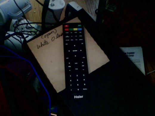 Here is a picture of my remote.  I have it lying on top of my computer in case I want to switch to tv mode to take a break from my computer job.