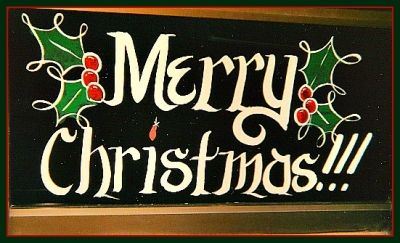 Merry Christmas - Holiday Window Lettering