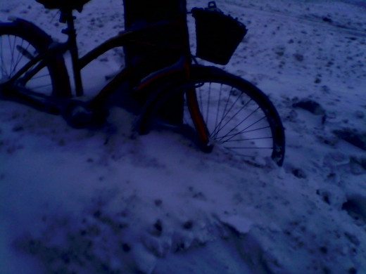 What happened to my bike/ overnight snow between December 31st, 2013  and January 1st, 2014.