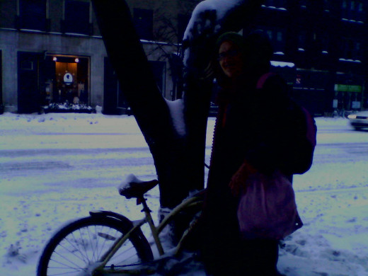 I posed with my bike before digging it out on New Year's of 2014.