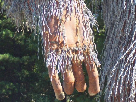 Closeup of a Bigfoot hand.