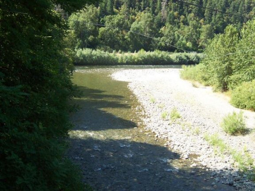 The confluence of Indian Creek and the Klamath River.