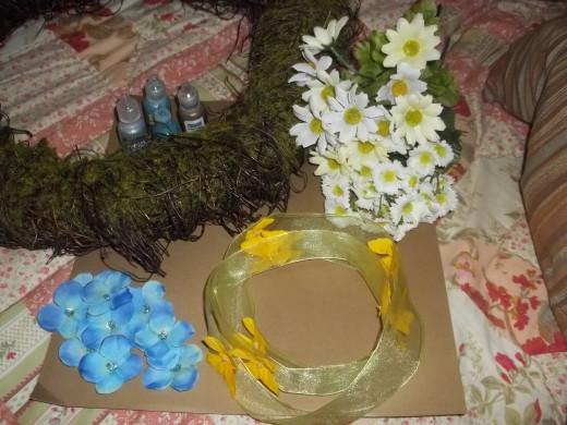 Summer Butterfly Wreath Materials