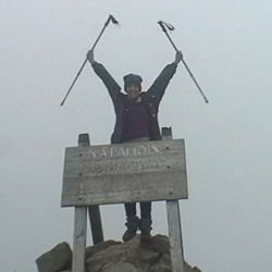 That's me, atop Mt. Katahdin in Maine, at the end of my 6-month thru-hike of the Appalachian Trail!