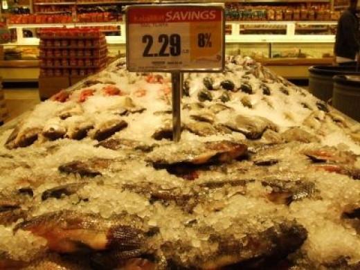 Taal tilapia, packed in ice at a Seafood City supermarket, Tukwilla, Washington