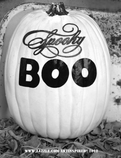 Black and White Spooky Boo - Paint your pumpkin white and decoupage on black Spooky Boo letters