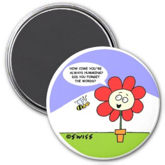 Cute Flower and Bee Kitchen Magnet