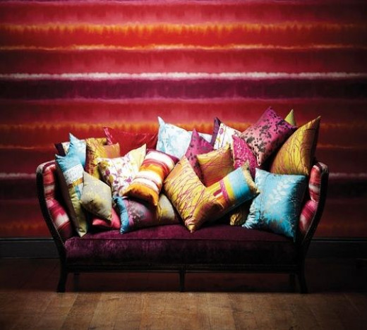 Many colors from the 2013 'Bold, Bright & Beautiful' color and design trend can be seen in this single image, which features Harlequin fabrics and wallcoverings.  While using so many colors may suit some, it may be too much for others.  Do what i