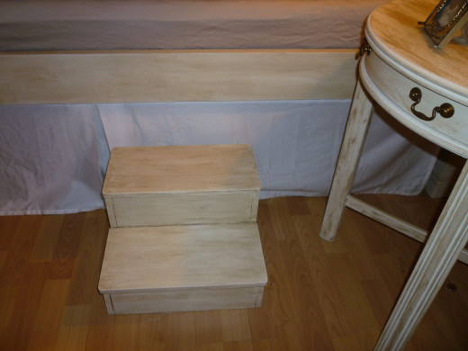 Bed Steps: (Originally covered with a bright blue paisley pattern - awful; I painted them off white): $20