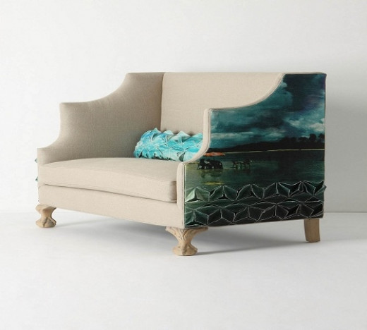 Make a bright and bold deep turquoise statement with Anthropologie's Greenfynch Settee, in the color, 'Padrina'.  Made in the USA, this stunning two-seater is set on ball-and-claw feet and features the same high sides and back of a wingback chair.  T