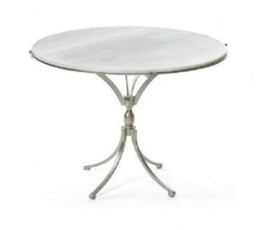 Classic Art Deco-style marble-topped French Bistro table.  Use it anywhere, in the breakfast area, as a game table, in a covered porch, or in the bedroom, with a pair of pull-up chairs, to enjoy morning coffee.