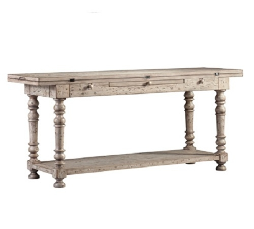From the Barclay Butera Home Collection comes this 'Oliver' flip-top table in a distressed white finish - a lovely Americana reproduction.  Use as a console or sofa table in the foyer or family room, or press into service as a server in the dining ro