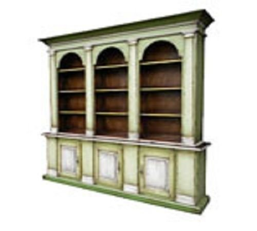 A lovely storage piece, the 'Murano Hutch' from Bima Trading, is made in the Americana style, and features the emerging trend color of grassy green.  Finished with a distressed painted and stained look, this hutch, showcasing both open and hidden sto
