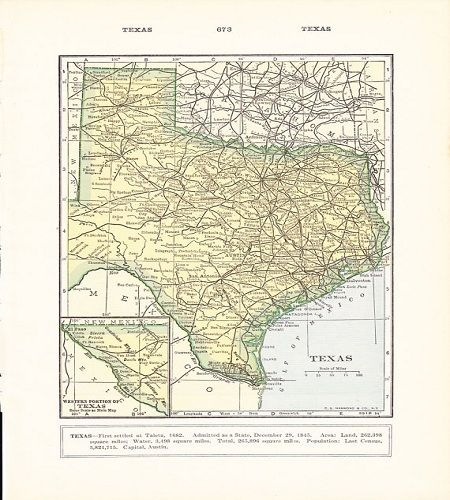 "Not a reproduction, but an authentic vintage, 1932 map of Texas; truly a classic piece of Americana.  Unframed, it is 9.75"" X 6.75"".  From the Etsy shop, Holcroft."