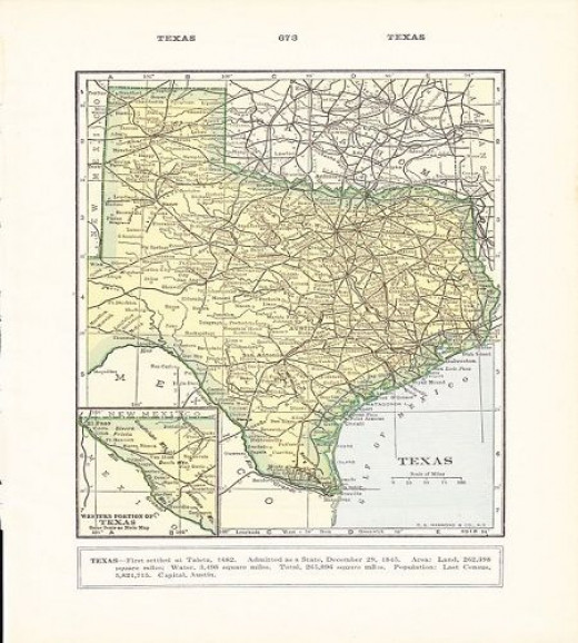 """Not a reproduction, but an authentic vintage, 1932 map of Texas; truly a classic piece of Americana.  Unframed, it is 9.75"""" X 6.75"""".  From the Etsy shop, Holcroft."""
