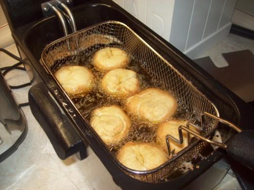 Frying donuts, link to Cuisinart Deep Fryer
