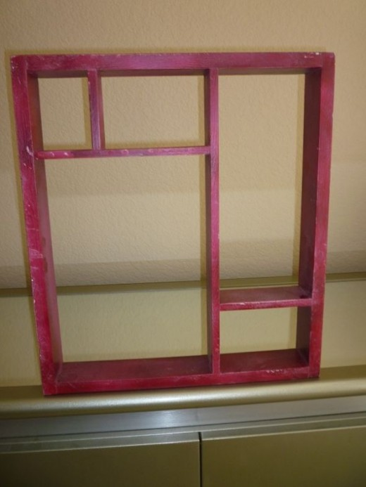 I paid 50 cents, at the same garage sale, for this smaller, narrower shadow box.  I prepped, primed and painted it, using the same paint as one the larger shadowbox.