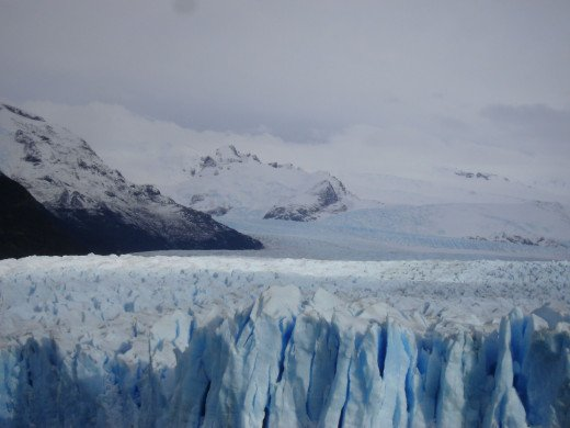 The Perito Moreno Glacier, on a cloudy day.