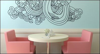 Paint your wall the desired color and then do creative drawing overtop of it to add a more personal touch.