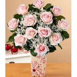 One Dozen Pink Roses with Vase