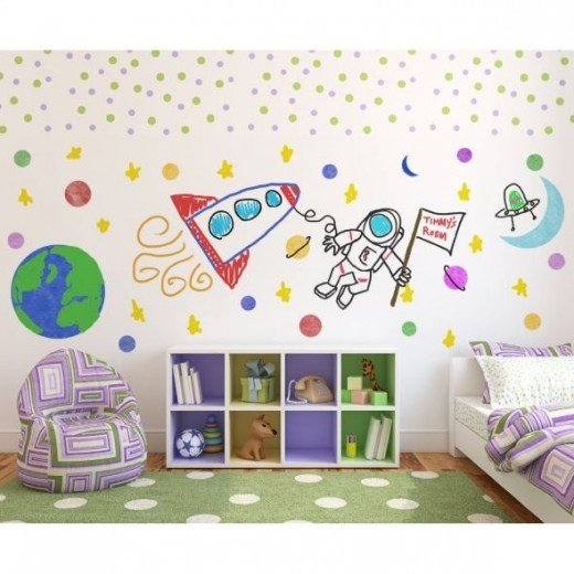 Let the kids design their own room patterns that they can change as often as they wish without repainting the walls.