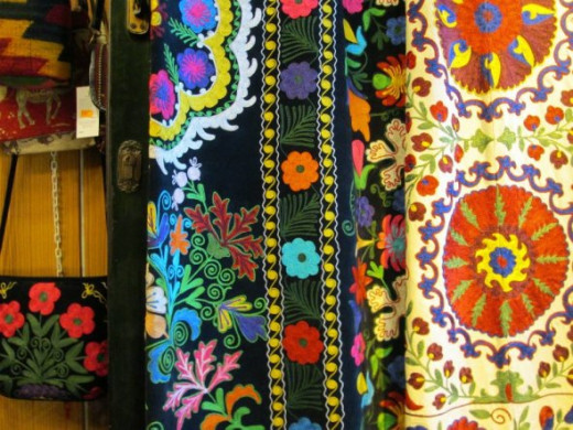 A variety of fabrics and textiles