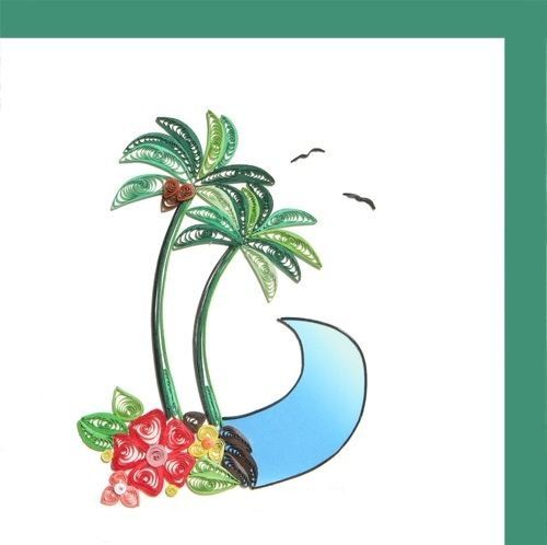 Two Palm Tree and Wave-Hawaiin Style