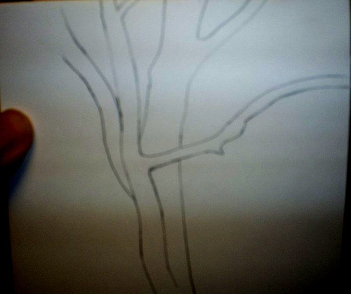 Here is a picture of simple tree that I drew on card stock.