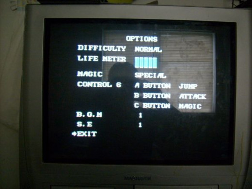 Golden Axe 2 settings before we started.