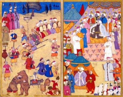 The sultan ottoman miniature painting.