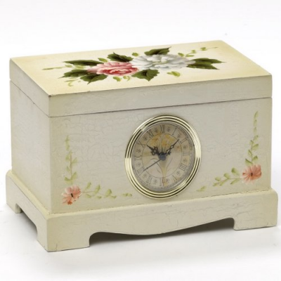Close View of Victorian Rose Clock BoxAvailable on Amazon