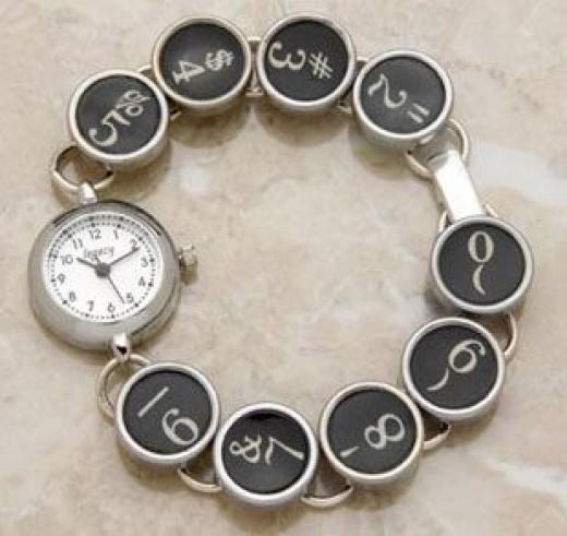 Wristwatch with a Typewriter Key Band