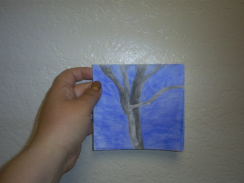 The finished tree card is ready to send to a friend.