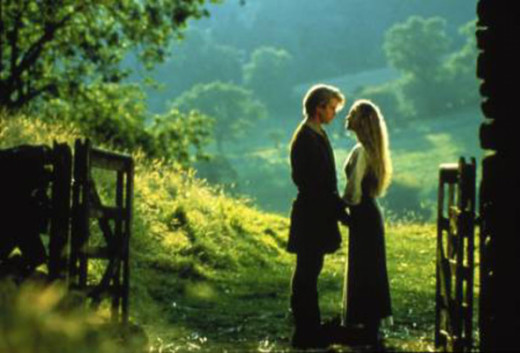 Princess Buttercup and Westley and the unforgettable kiss ending.