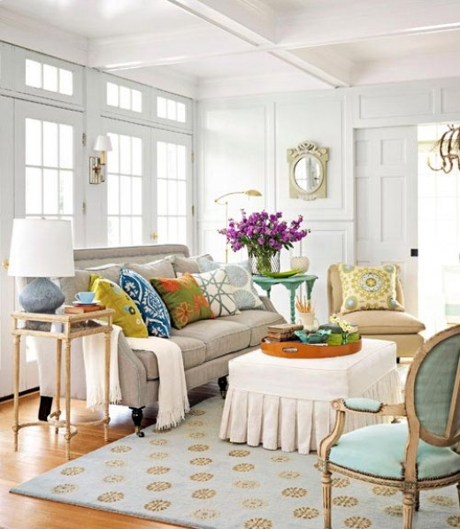 A little bit of everything. Tones of gray, white, blue, yellow, green, orange, lavender, gold and beige are surrounded by white from ceiling to floor.